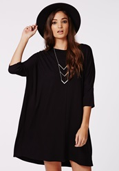 Missguided Jaylin Oversized Jersey Tee Dress Black