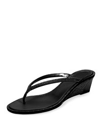 Crystal Wedge Thong Sandal Black Rene Caovilla
