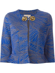 Erika Cavallini Semi Couture Leaf Print Embellished Cropped Jacket