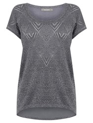 Oasis Sparkle Knit T Shirt Mid Grey