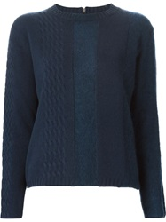 Piazza Sempione Cable Knit Detail Sweater Blue