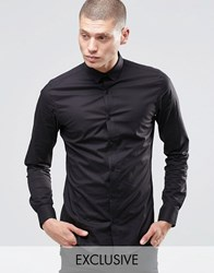 Only And Sons Skinny Shirt With Concealed Button Down Collar With Stretch Black
