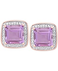 Victoria Townsend Amethyst 3 1 3 Ct. T.W. And Diamond Accent Square Stud Earrings In 18K Rose Gold Plated Sterling Silver