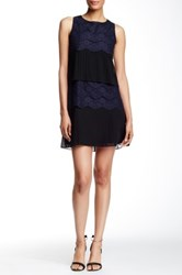 Jessica Simpson Pleat And Lace Dress Blue