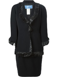 Thierry Mugler Vintage Fringed Skirt Suit Black