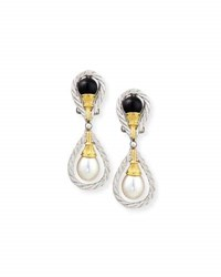 Buccellati 18K Gold Drop Earrings With Onyx And Pearls
