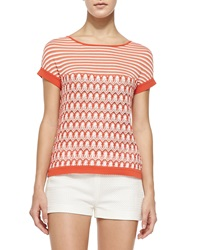 Missoni Short Sleeve Tee With Striped Yoke