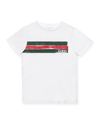 Gucci Short Sleeve Logo Jersey Tee Optic White Size 4 12