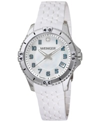 Wenger Women's Swiss Squadron Lady White Silicone Rubber Strap Watch 36Mm 0121.104