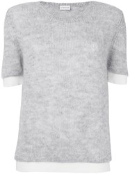 Moncler Knitted Short Sleeve Sweater Grey