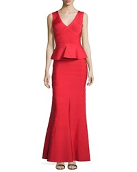 Herve Leger Sleeveless V Neck Peplum Gown Coral Poppy