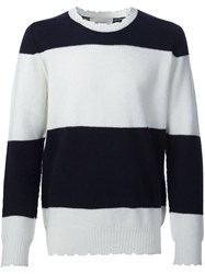 Pringle Of Scotland Distressed Striped Jumper White