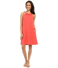 Tommy Bahama Two Palms Halter Sundress Bright Coral Women's Dress Gray
