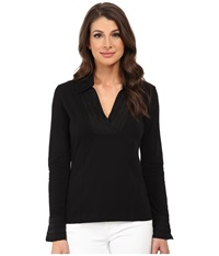 Nic Zoe Pleated V Top Black Onyx 2 Women's Long Sleeve Pullover