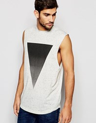 Asos Nepp Longline Sleeveless T Shirt With Triangle Print Cream