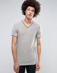 Asos Knitted V Neck Tshirt In Merino Wool Mix Grey