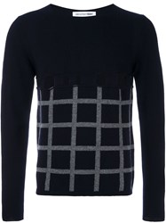 Comme Des Garcons Shirt Cut Out Grid Check Jumper Blue