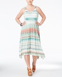 American Rag Plus Size Printed Midi Dress Only At Macy's Blue Turquoise Combo