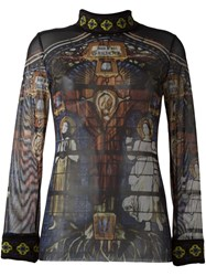 Jean Paul Gaultier Vintage Gothic Sheer Jumper Multicolour