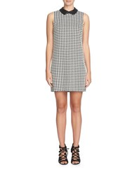 Cece Brynn Houndstooth Leather Collar Shift Dress Black White