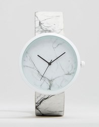 Asos Watch With Marble Design White