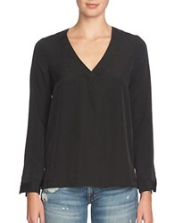 1.State Overlapped Back Long Sleeve Top Rich Black