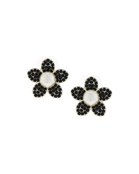 Fragments For Neiman Marcus Fragments Pave Black Crystal And Pearly Flower Button Earrings Women's