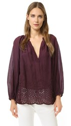 Nili Lotan Embroidered Saint Tropez Blouse Maroon