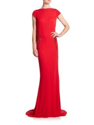 Badgley Mischka Beaded Draped Back Gown Red