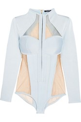 Balmain Paneled Jersey And Stretch Tulle Bodysuit Sky Blue
