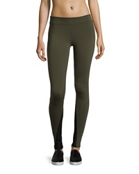 Solow Contrast Inseam Leggings Army