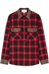 Gucci Embellished Plaid Cotton Flannel Shirt Red
