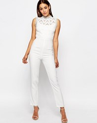 Missguided Premium Lace Yoke Jumpsuit With Embellished Detail Cream