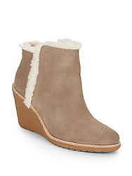 Cole Haan Michelle Faux Fur Trimmed Waterproof Suede Ankle Boots Sea Otter