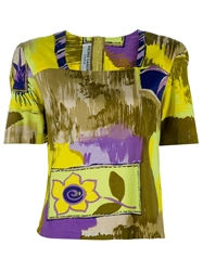 Pierre Cardin Vintage Floral Print Top Yellow And Orange