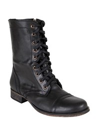 Steve Madden Troopa Leather Lace Up Mid Calf Boots Black Leather