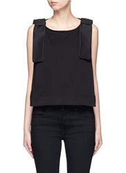 Victoria Beckham Bow Shoulder Jersey Tank Top Black