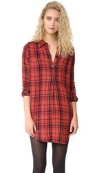Sundry Plaid Henley Shirtdress Pomegranate