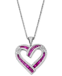 Macy's Sterling Silver Necklace Ruby 1 3 4 Ct. T.W. And Diamond 5 8 Ct. T.W. Heart Pendant