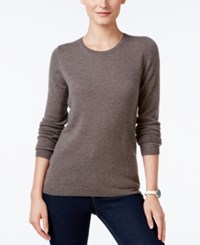 Charter Club Cashmere Crew Neck Sweater Only At Macy's Heather Mocha