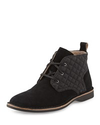 Andrew Marc New York Quilted Suede Chukka Boot Black Women's Dkcha Blk Dknat
