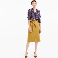 J.Crew Tie Waist Skirt In Cotton Linen