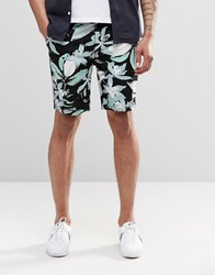 Asos Slim 5 Pocket Shorts In Mid Length With Floral Print Black