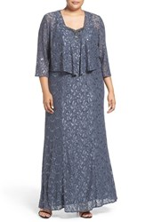 Alex Evenings Plus Size Women's Beaded Lace A Line Gown And Jacket
