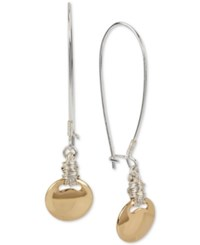 Robert Lee Morris Soho Two Tone Wire Wrapped Disc Long Drop Earrings