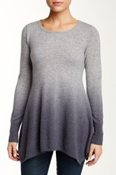 Sofia Cashmere Jewel Neck Ombre Cashmere Sweater Gray