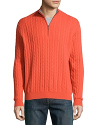 Neiman Marcus Zip Front Cashmere Cable Knit Pullover Sweater Orange
