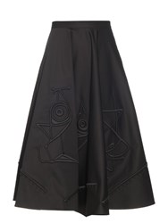 Tomas Maier Embroidered A Line Skirt Black