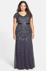 Adrianna Papell Plus Size Women's Beaded V Neck Gown Gunmetal