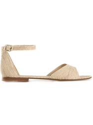 Carrie Forbes Woven Buckled Ankle Sandals